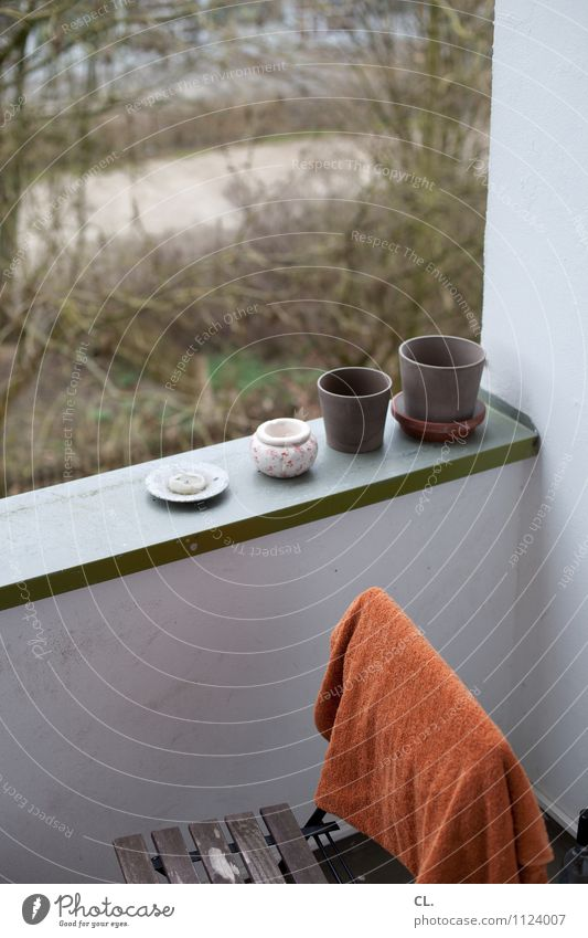 Winter Cold Environment Wall (building) Autumn Wall (barrier) Flat (apartment) Living or residing Decoration Gloomy Candle Chair Balcony Flowerpot Arrange Towel