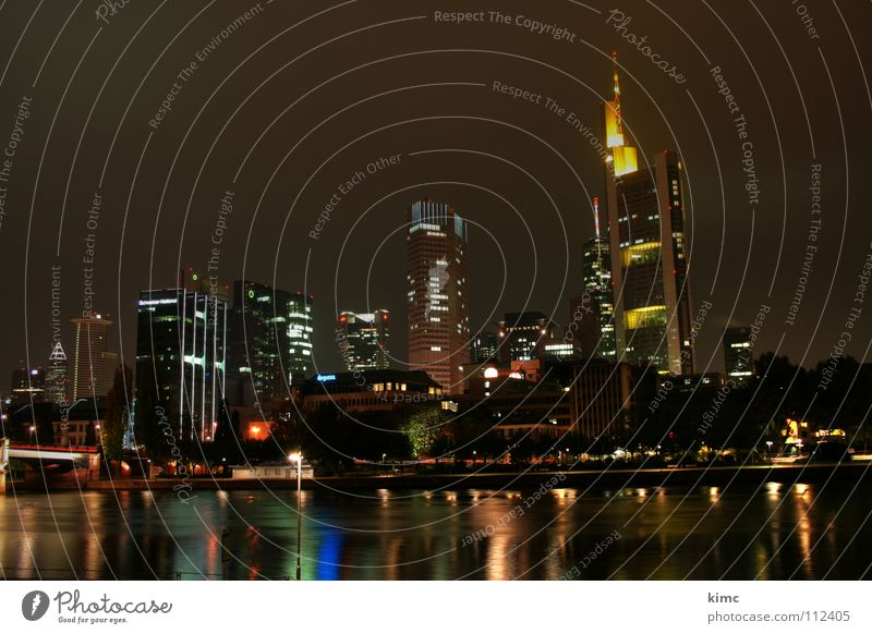 skyline frankfurt at night Frankfurt Main Night Night shot Lighting Reflection Autumn Winter Dark High-rise Rhein-Main area Long exposure Landmark Monument