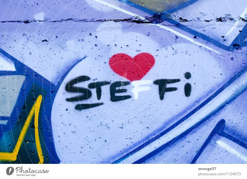 STEFFI Wall (barrier) Wall (building) Characters Town Multicoloured Love Infatuation Romance Graffiti Concrete wall Name Heart Colour photo Exterior shot