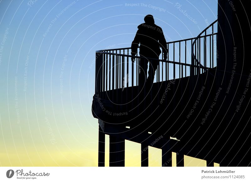 Skywards Freedom Career Human being Masculine Man Adults Body 1 30 - 45 years Architecture Cloudless sky Beautiful weather Freiburg im Breisgau Germany