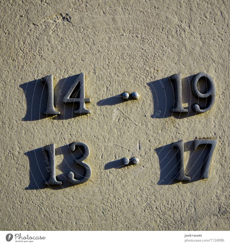Time span by numbers Design Typography Metal Digits and numbers Period of time Traces of time Simple Shadow play Three-dimensional Surface Drop shadow Colon
