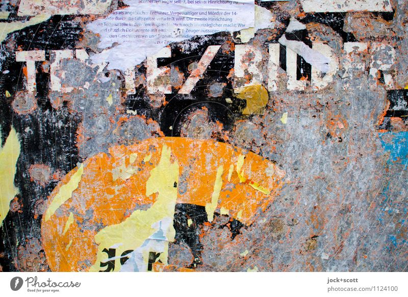 Texts and pictures Style Event Illustration Varnish Scrap Remainder Metal Word Capital letter Date Transience Change Image Ravages of time Weathered Information