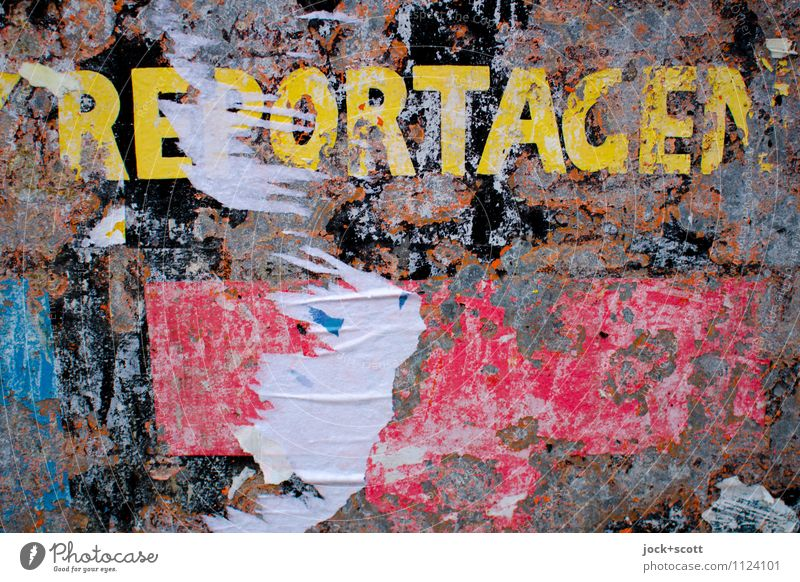 reportage (old) Style Background picture Metal Authentic Transience Idea Culture Broken Retro Change Firm Information Decline Passion Stress Typography