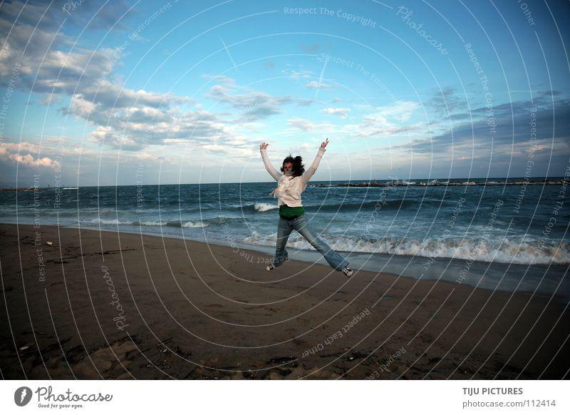 Water Sky Ocean Blue Joy Beach Clouds Jump Freedom Happy Sand Moody Waves Coast Success Free