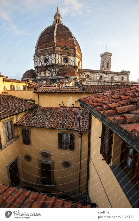bellezza Sky Sunlight Beautiful weather Old town Church Dome Roof Esthetic Religion and faith Florence Santa Maria del Fiore Tuscany Domed roof Marble