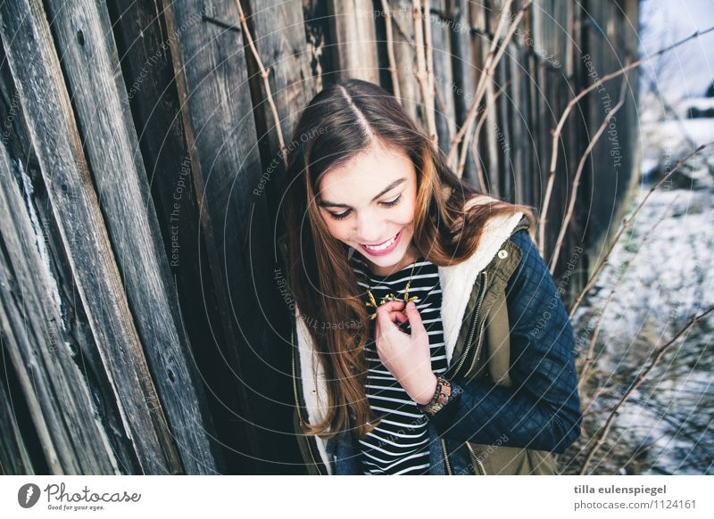 Human being Youth (Young adults) Joy Winter 18 - 30 years Cold Adults Emotions Snow Feminine Wood Happy Laughter Moody Facade Contentment