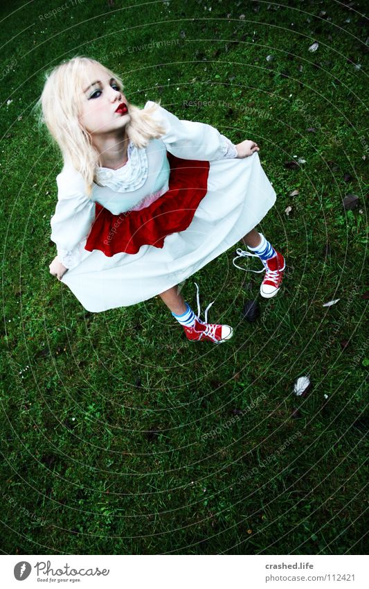 Child Youth (Young adults) White Green Red Girl Leaf Feminine Movement Blonde Elegant Dress Lawn Kissing Lady Make-up