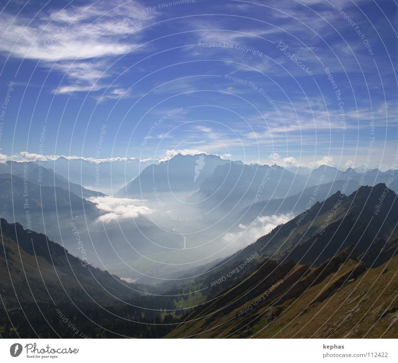 Sky Nature Beautiful Clouds Far-off places Mountain Life Fog Vantage point Eternity Peak Longing Alps Wanderlust Switzerland Valley