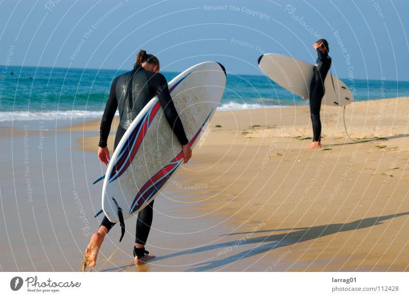 no waves Surfing Waves Beach Ocean Summer Vacation & Travel Atlantic Ocean Neoprene Physics Woman Black White Far-off places Wanderlust Sports