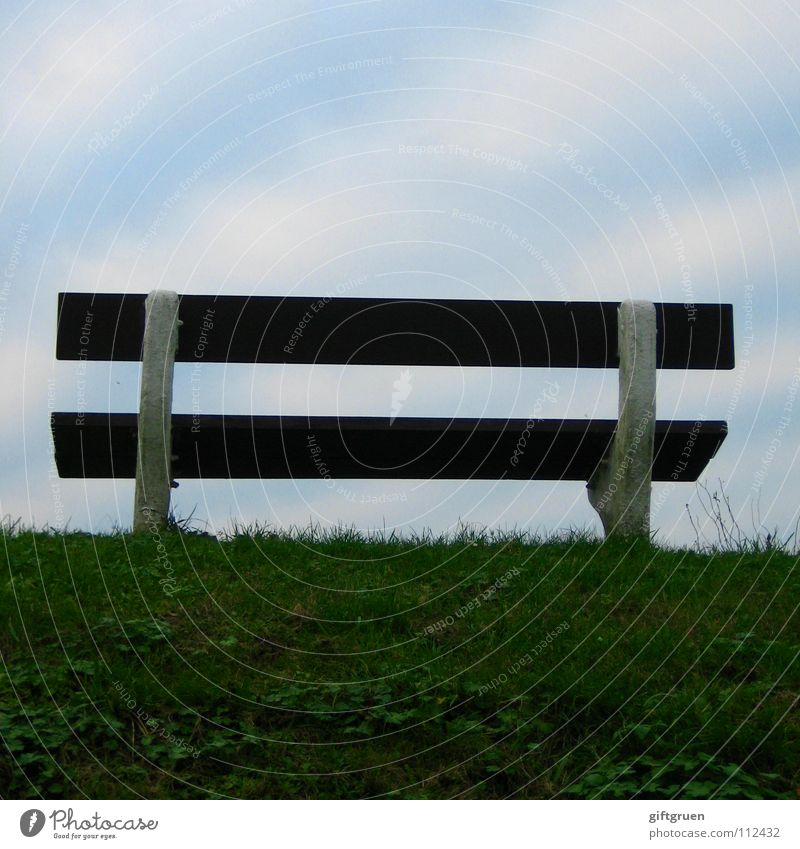 Sky Green Blue Beach Clouds Grass Brown Coast Wait Empty Bench Vantage point Stripe Furniture Seating Dike