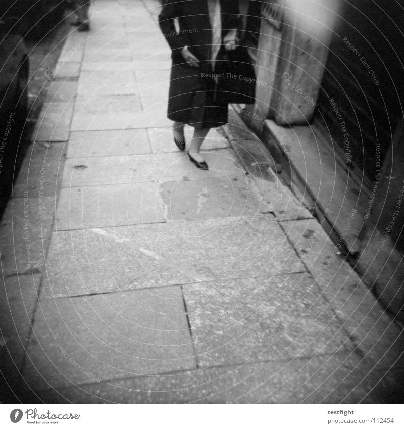 sidewalk Sidewalk Going Town Insecure Holga To go for a walk Encounter Woman Pursue Free Relaxation Longing Wanderlust Homesickness Vacation & Travel