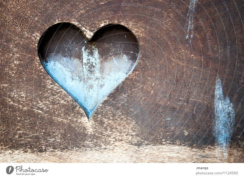 From the bottom of my heart Wood Heart Old Beautiful Blue Brown Love Romance Relationship Transience Retro Loyalty Valentine's Day Emotions Sign Infatuation
