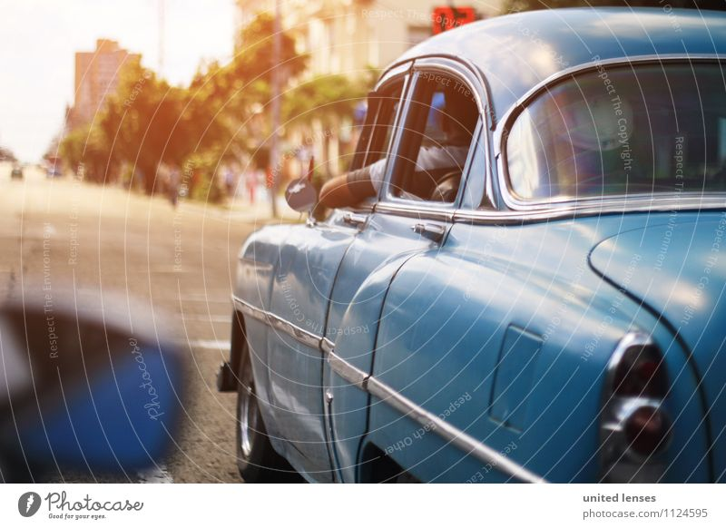 Blue Street Car Window Art Esthetic Driving Motoring Cuba Road traffic Vintage car Car driver Car race Cuban Vintage car race