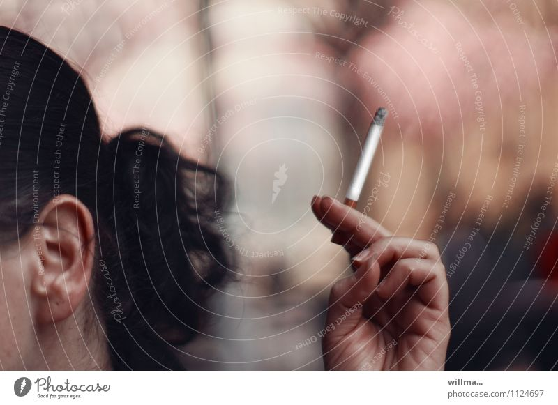 Youth (Young adults) Young woman Hand To enjoy Fingers Smoking Ear Cigarette Addiction Nicotine