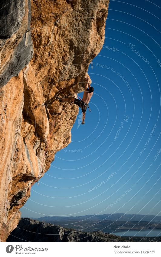 Human being Youth (Young adults) Blue Summer 18 - 30 years Adults Mountain Sports Exceptional Rock Orange Masculine Power Threat Fitness Adventure