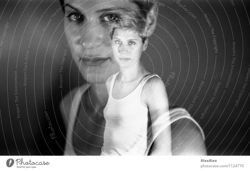 analog, black and white double exposure of a young woman with white undershirt Room Young woman Youth (Young adults) Face 18 - 30 years Adults Shirt Blonde