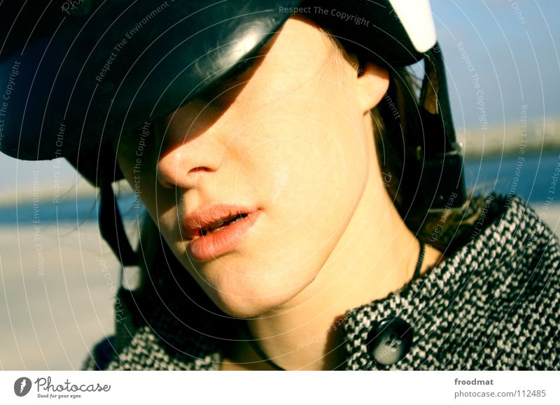 scooter Helmet Lips Dearest Barcelona Spain Beautiful Woman Silhouette Scooter Transport Ocean Buttons Coat Near Cool (slang) Cold Mouth siana froodmat Shadow