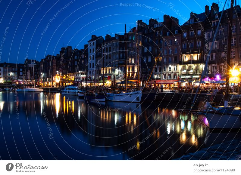nightlife Lifestyle Vacation & Travel Tourism City trip Summer Summer vacation Night life Night sky Honfleur Normandie France Town Port City Old town Populated