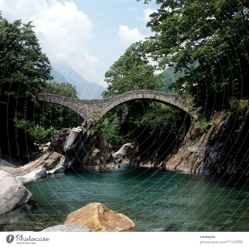 Double arch bridge; Ponte dei Saltri; Vacation & Travel Landscape Alps Relaxation double arch bridge Arched bridge Canton Tessin verzasca Switzerland