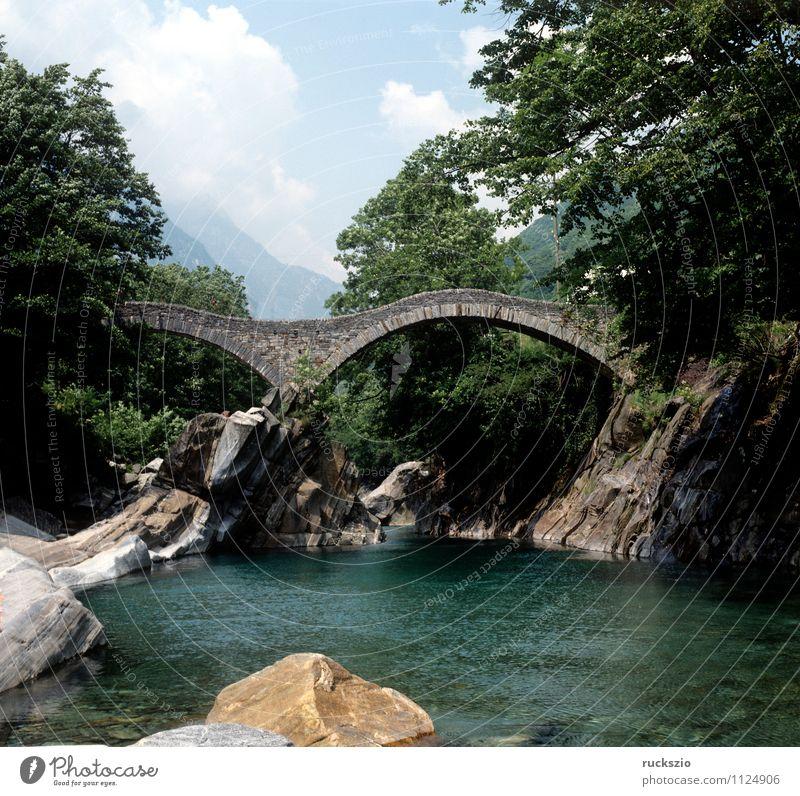 Vacation & Travel Relaxation Landscape Alps Switzerland Granite Pedestrian bridge Canton Tessin Arched bridge Stone bridge Roman bridge
