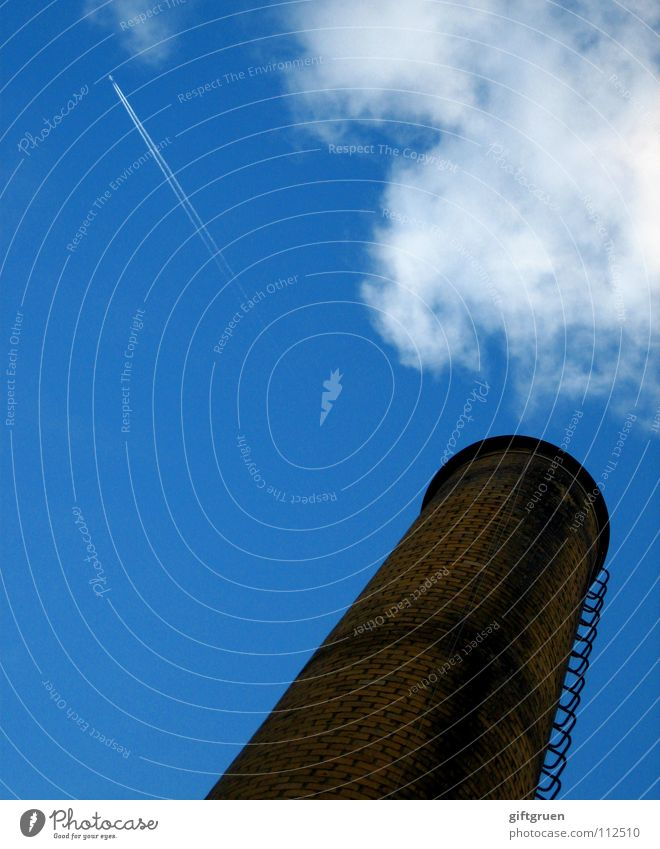 Sky Blue Clouds Far-off places Line High-rise Tall Speed Industry Aviation Chimney Bad weather Vapor trail Smoke signal