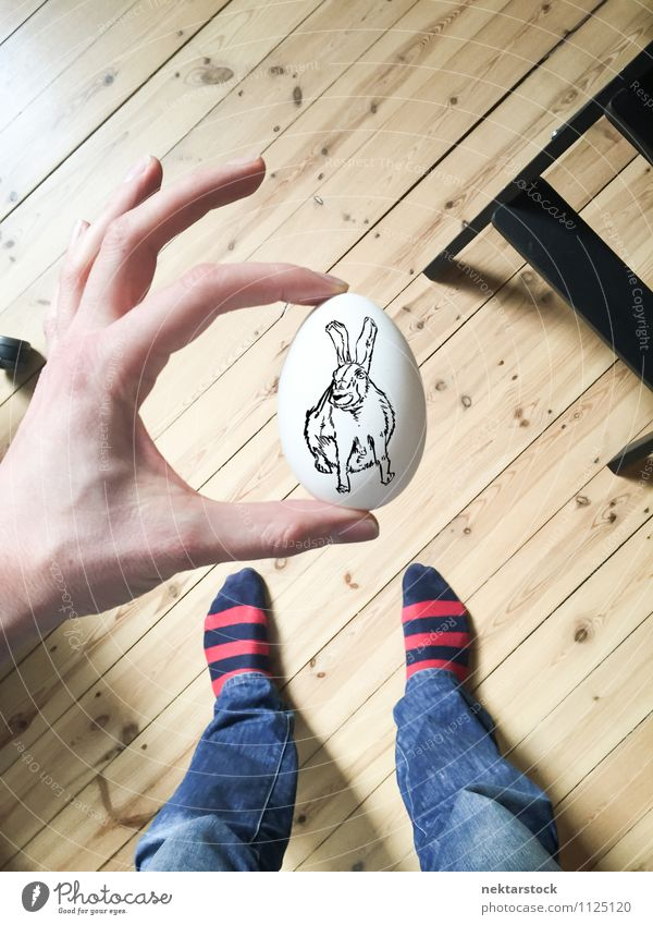 Rabbit drawing on white egg Breakfast Design Happy Decoration Feasts & Celebrations Easter Hand Feet Wood Free Funny White background vintage