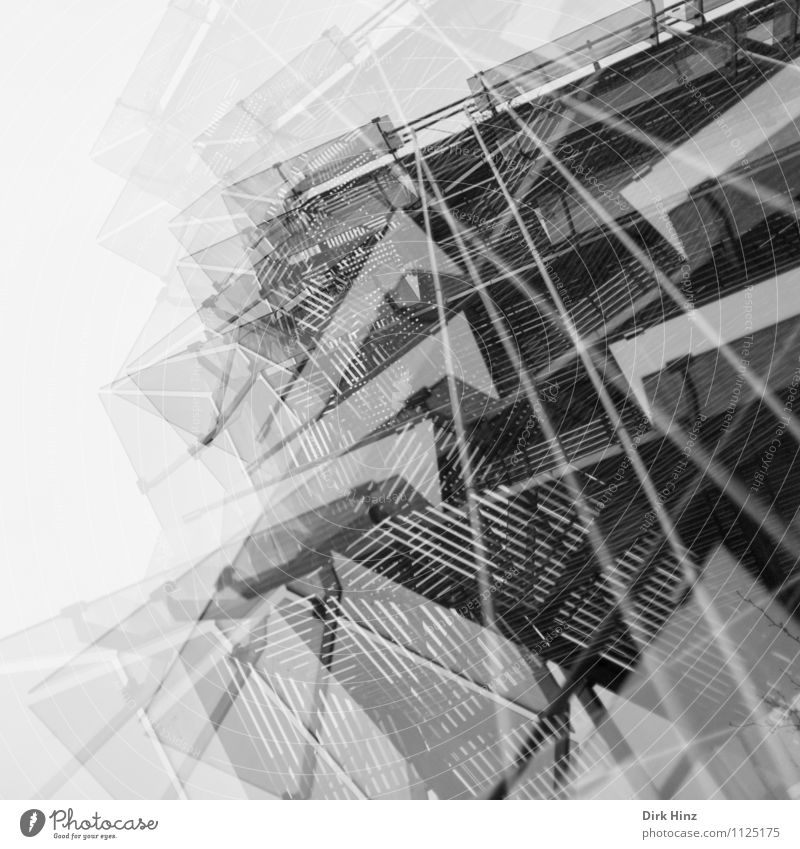 multi-layered II Town Bank building Industrial plant Building Architecture Facade Esthetic Sharp-edged Crazy Gray Design Double exposure Surrealism Style Glass