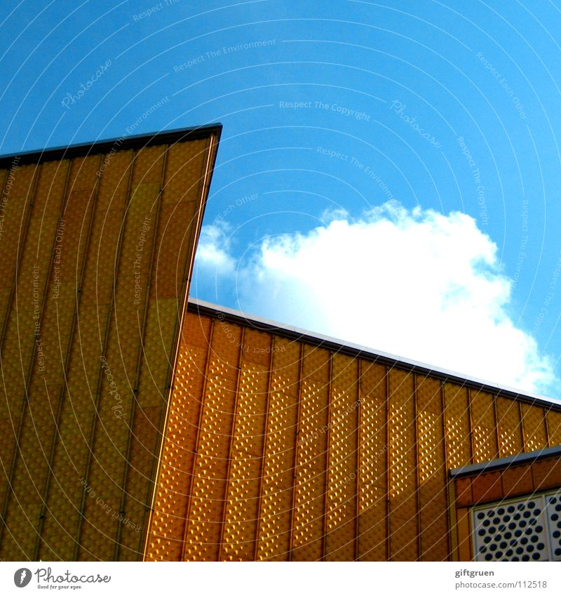 Sky Blue Clouds Berlin Building Art Gold Facade Modern Culture Point Concert Event Berlin Philharmonic