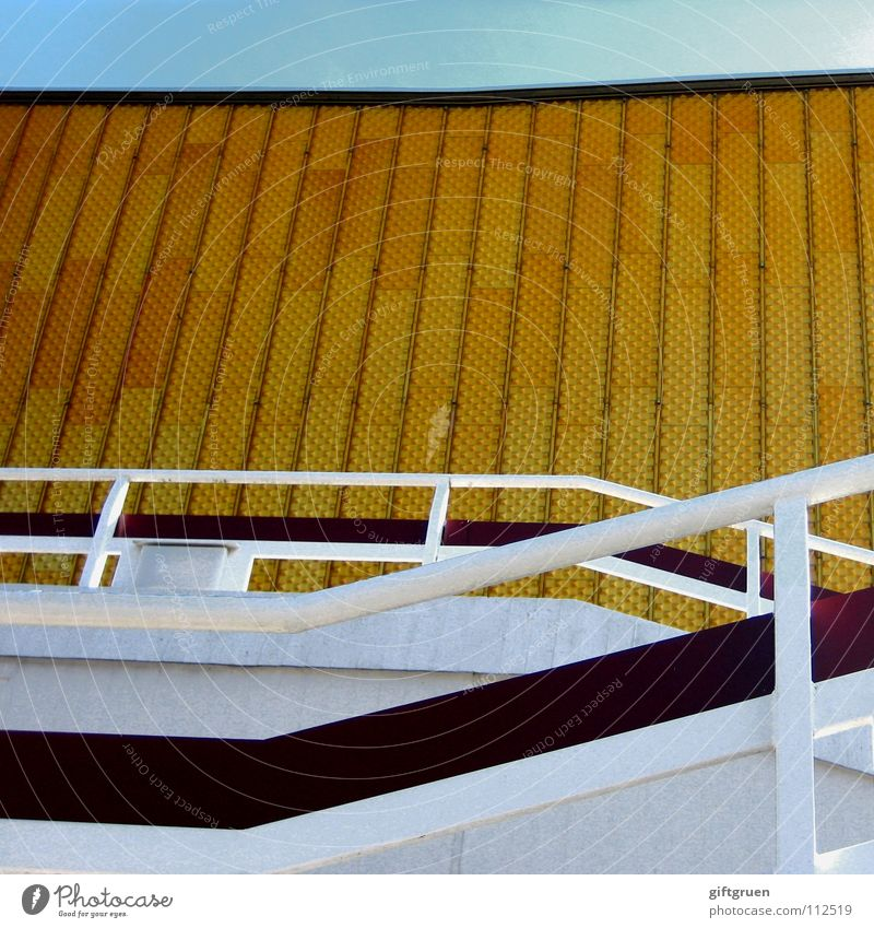 Sky Blue Yellow Berlin Building Gold Facade Stairs Modern Culture Concert Event Handrail Berlin Philharmonic