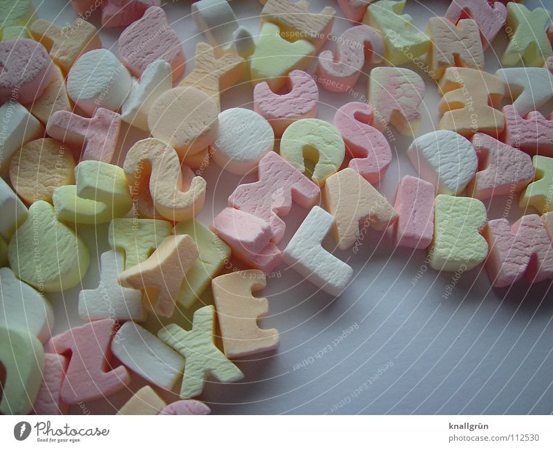 Colourful mixture Letters (alphabet) Multicoloured Pink White Yellow Candy Latin alphabet Orange candy colours Nutrition