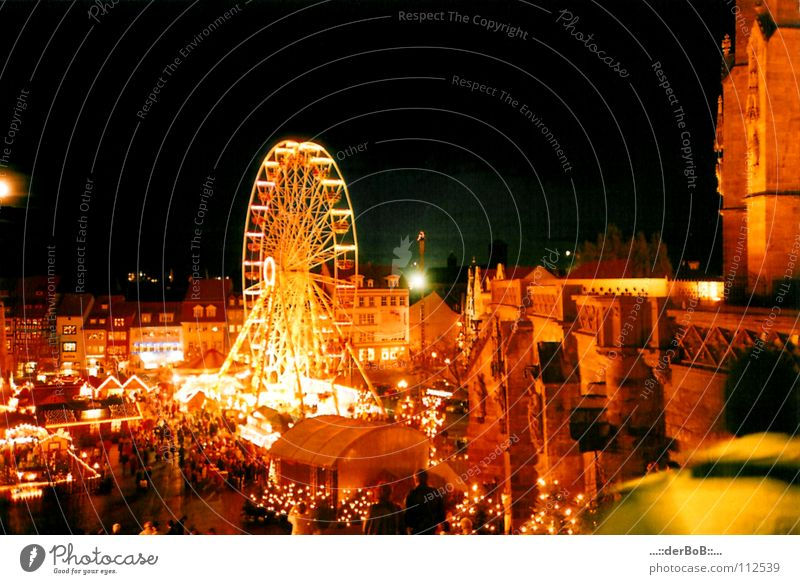 Christmas capitalism Analog Night Ferris wheel Christmas Fair Erfurt Thuringia Capital city Downtown Mulled wine December Capitalism Fairs & Carnivals Red