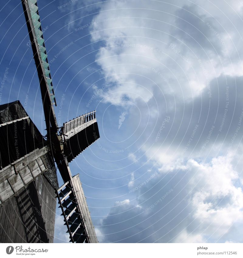 Beautiful Old Sky Blue Clouds Wood Air Power Wind Force Wing Strong Monument Historic Ancient Mill