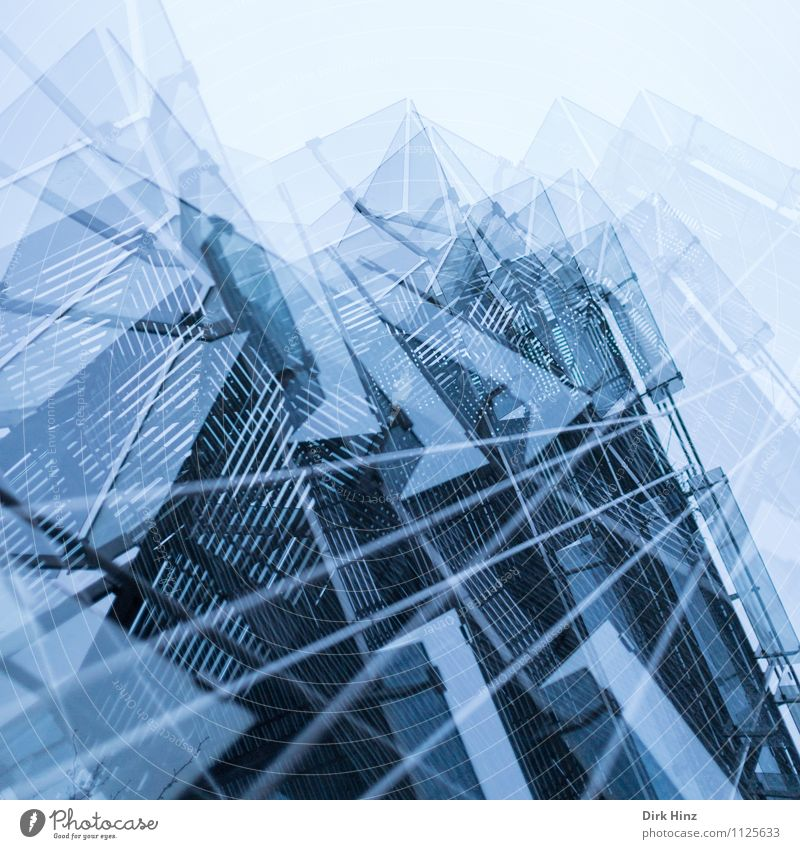 multi-layered Town Bank building Building Architecture Facade Blue Advancement High-tech Future Design Esthetic Bizarre Uniqueness Creativity Perspective Style
