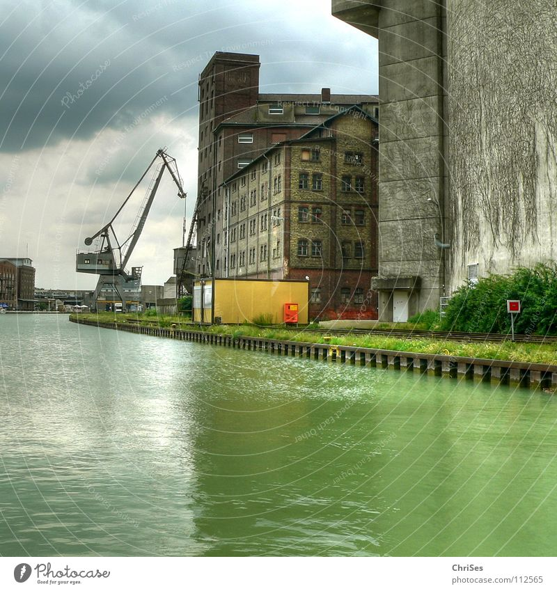 City harbour 1 Münster Mirror Reflection Crane Construction crane Watercraft Green Gray Clouds Algae New building Old building Work and employment Redecorate