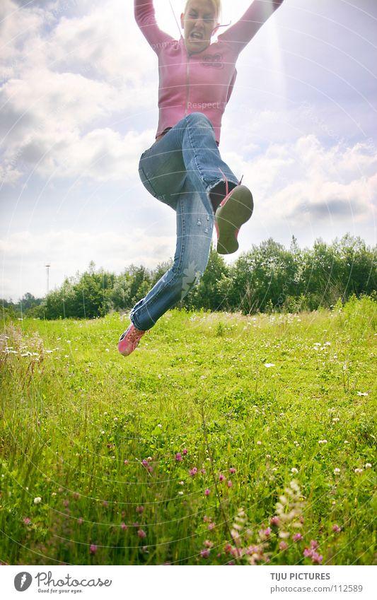 Blue Green Sun Joy Clouds Meadow Happy Jump Air Pink Dangerous Sweet Might Joie de vivre (Vitality) Fight Hop