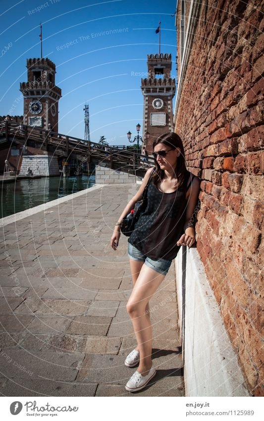 Human being Woman Child Vacation & Travel Youth (Young adults) City Beautiful Summer Young woman 18 - 30 years Adults Wall (building) Sadness Feminine