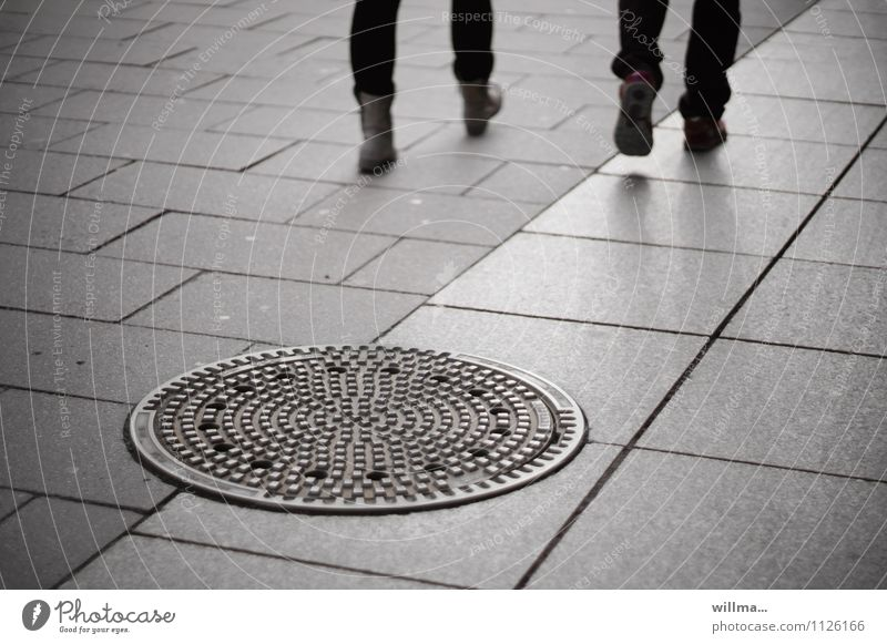 travelling alone in pairs Gully Going Gloomy Town Gray Paving tiles Legs Friendship Anonymous Side by side people City life feet Pedestrian precinct urban