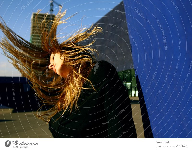 Woman Sky Blue Beautiful Movement Hair and hairstyles Line Flying Concrete Action Roof Frozen Spain Dynamics Barcelona Swing