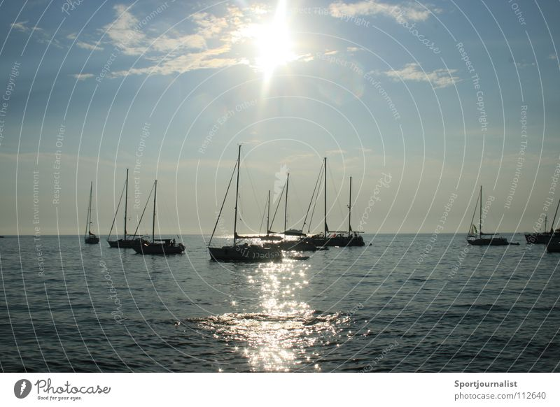 Sun Is Shining Ocean Watercraft Horizon Sailboat Rovinj Croatia Vacation & Travel Evening Summer Sky