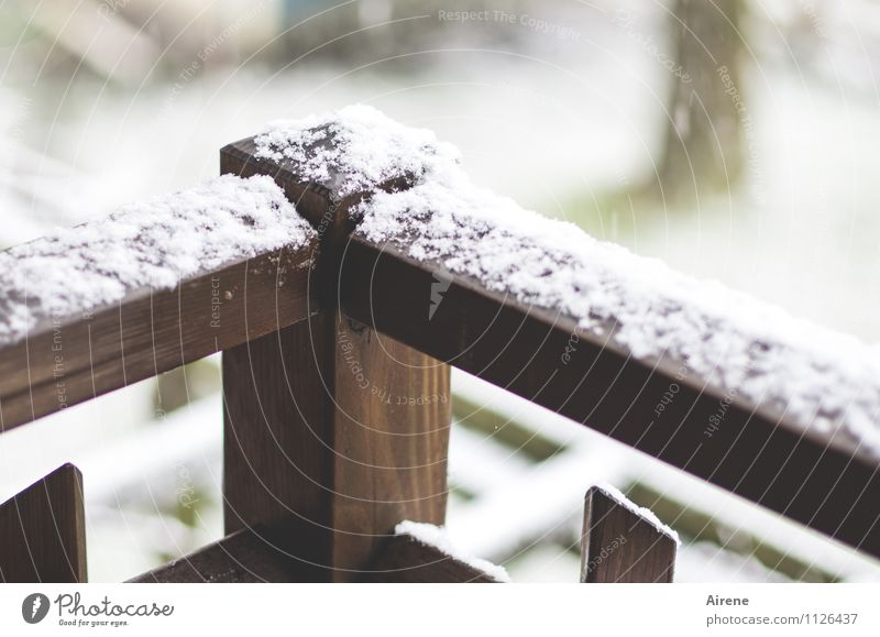 New.Snow. Flat (apartment) Winter Bad weather Snowfall Balcony Garden wooden balcony balcony rail Handrail Wood Cold Gloomy Brown White Disappointment