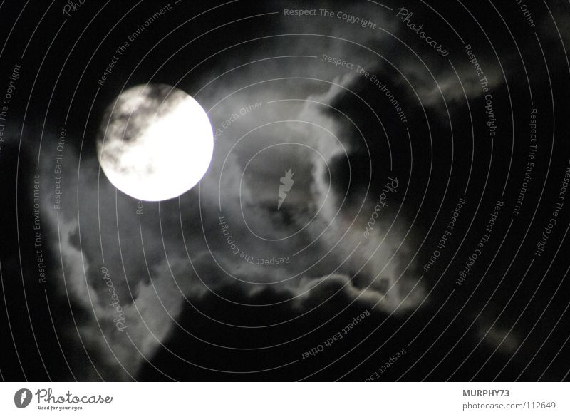 White Black Clouds Obscure Moon Spooky Celestial bodies and the universe Full  moon Aura