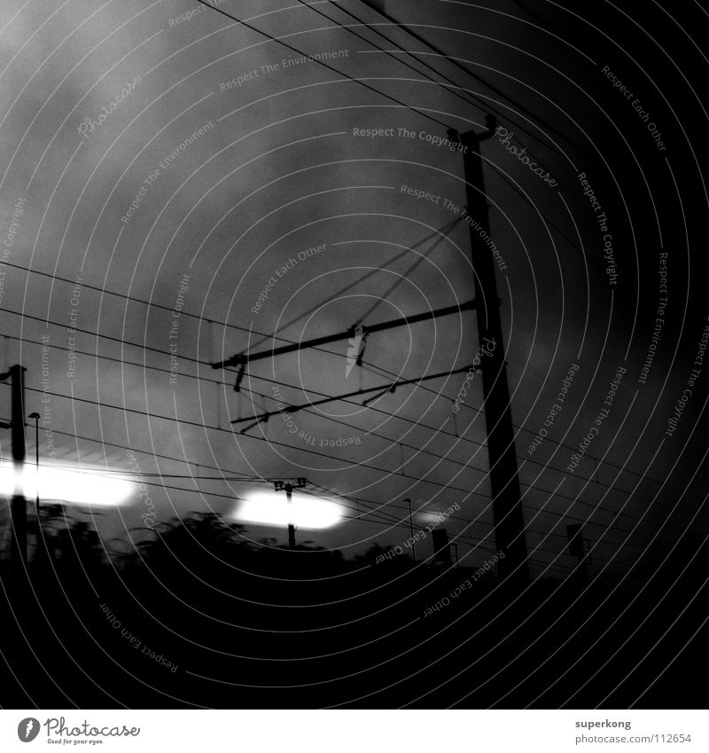 trainspotting Style Black & white photo Andre Mayr Industrials lights black move space