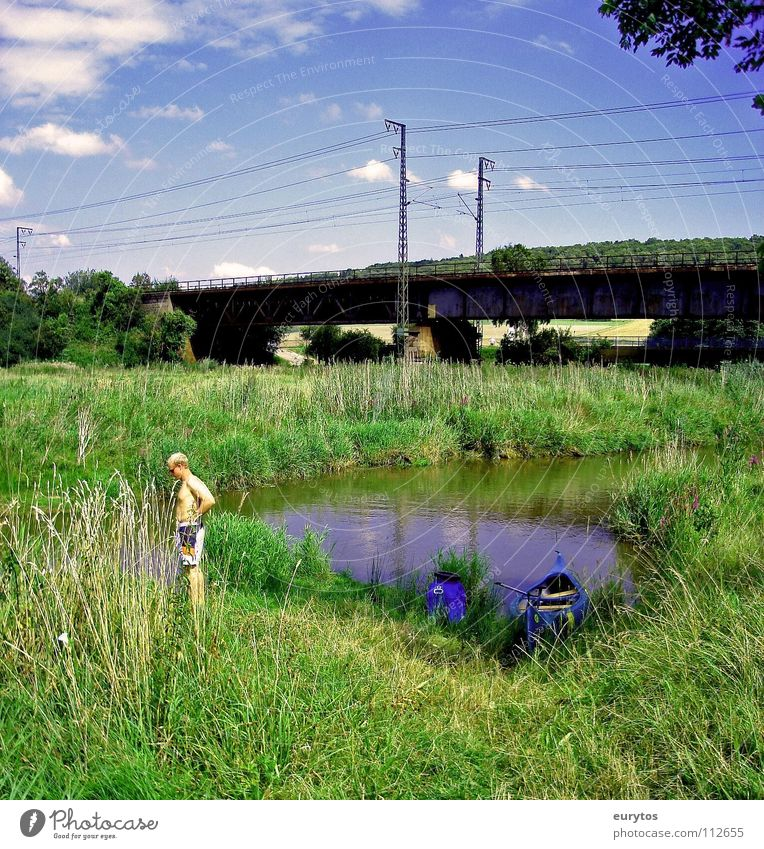 Human being Sky Blue Summer Clouds Meadow Landscape Bridge River Leisure and hobbies Canoe Transition Railroad bridge