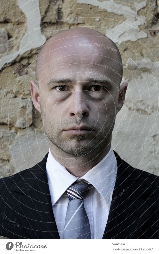 ready for a holiday Human being Masculine Man Adults Body Head Face Eyes 1 30 - 45 years Clothing Shirt Suit Tie Bald or shaved head Authentic Cold Gloomy