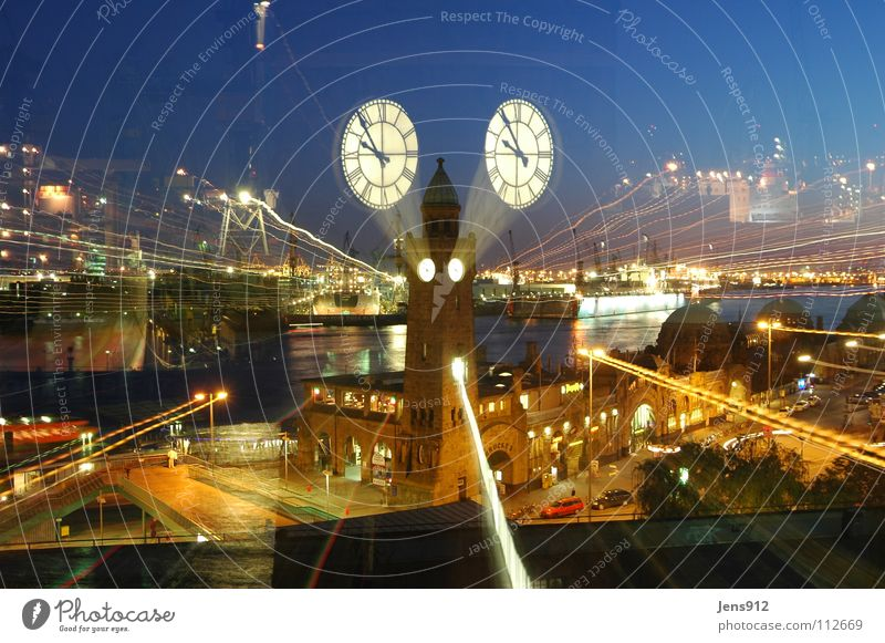 Street Dark Window Movement Car Lighting Hamburg River Clock Harbour Lantern Jetty Brook Street lighting Crane Elbe
