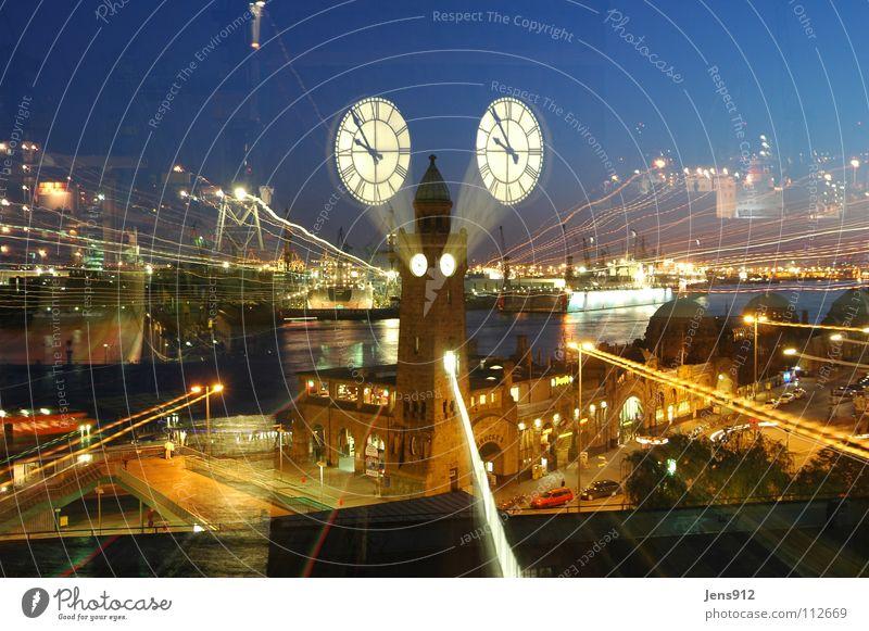 Street Dark Window Movement Car Lighting Hamburg River Clock Harbour Lantern Jetty Brook Street lighting Crane Elbe