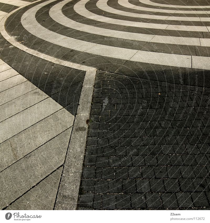 White City Street Dark Style Stone Line Bright Waves Signs and labeling Circle Round Floor covering Asphalt Things Square