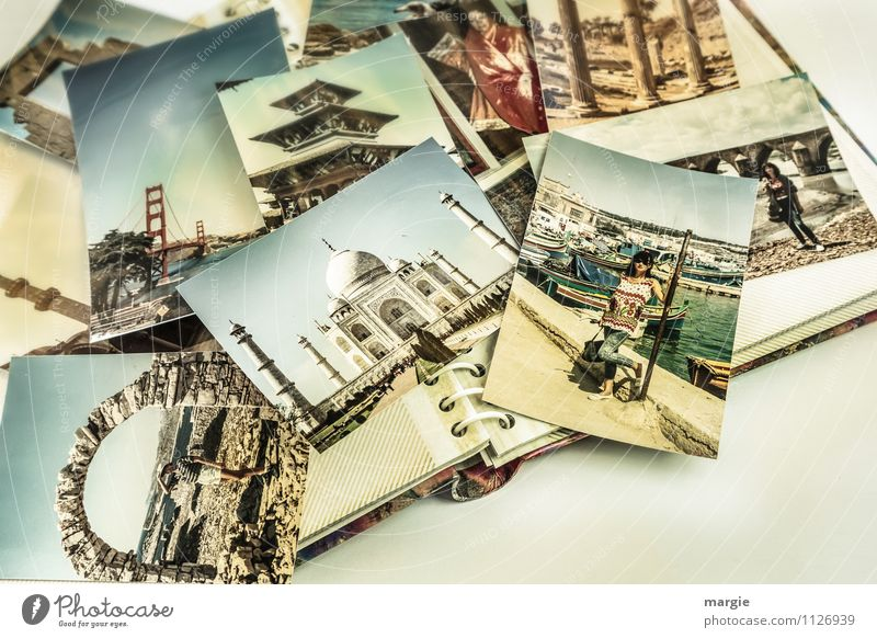 Travel fever: A photo album with many travel photos of a young woman Vacation & Travel Tourism Trip Adventure Far-off places Sightseeing City trip Summer