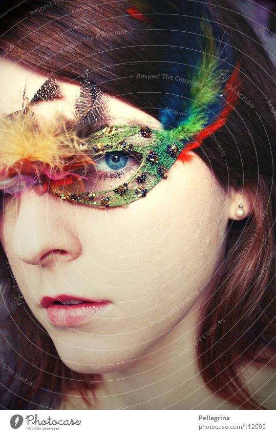 Woman Blue Eyes Dark Hair and hairstyles Mouth Glittering Nose Feather Mask Carnival Hide Direct Pearl Pallid Venice