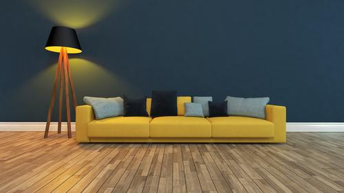 yellow seat with dark wall Elegant Style Design Beautiful Relaxation Flat (apartment) House (Residential Structure) Furniture Sofa Living room Art Plant
